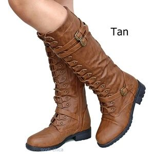 Shoes - New Tan Combat Military Lace Up Knee High Boots